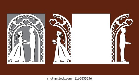 Laser cut template of wedding invitation card with bride and groom. Gate fold with openwork vector silhouette. Envelope for greeting postcard with lace arch. Panel with decorative heart design pattern