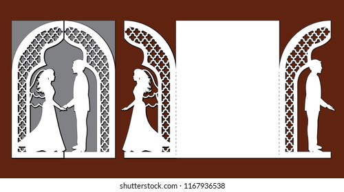 Laser cut template of wedding invitation card with bride and groom. Gate fold with openwork vector silhouette. Envelope for greeting postcard with lace arch. Panel with decorative ogee design pattern.