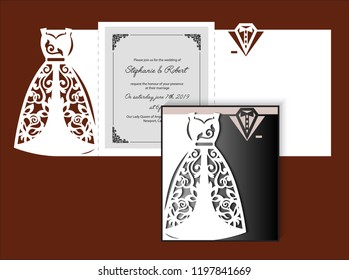 Laser cut template of wedding invitation with bride and groom clothes. Fold card with openwork silhouette of white bridal dress & tuxedo. Paper cutout postcard with holiday outfit. Vector illustration