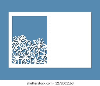 Laser cut template of wedding invitation with flowers. Pocket envelope for greeting card with floral ornament. Fold lace decor panel with openwork vector silhouette. Die cut for Valentine's day.