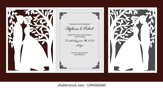 Laser cut template of wedding invitation with bride, groom. Card with openwork vector silhouette of tree with branches, leaves. Couple in love in lace decor panel. Faces in profile at Valentine's day.