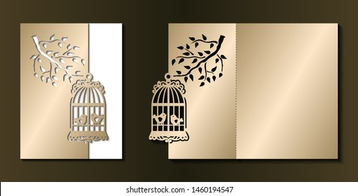 Laser cut template of wedding invitation. Fold card with cage, birds, branch with leaves. Gold vector illustration. Silhouette of golden birdcage. Panel for wood carving, paper cut, diecut pattern.