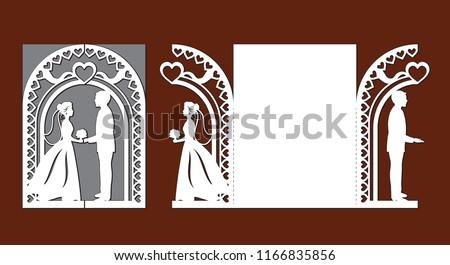 laser cut template wedding invitation card stock vector royalty
