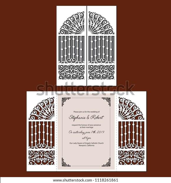 Laser Cut Template Wedding Invitation Fold Stock Vector Royalty