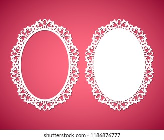 Laser cut vector abstract oval frames with swirls, vector ornament, vintage frame. May be used for laser cutting. Photo frames with lace for paper cutting.
