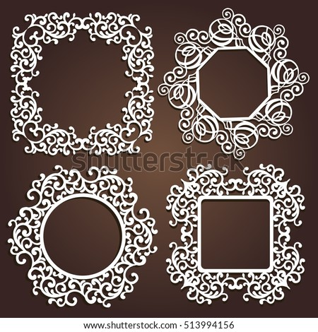 08d0cf3f4a2 Laser cut vector Decorative frame. Photo frame with lace for paper cutting.