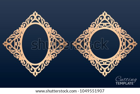 cb909712bb30 Laser Cut Vector Frames Abstract Oval Stock Vector (Royalty Free ...