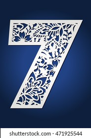 Laser cut vector number seven. May be used for paper cutting. Cutout botanical alphabet numeral. Flower font with ornamental pattern. May be used for cutting machines.