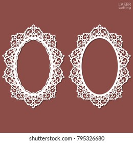Laser cut vector oval frames with swirls lace border, vector ornament, vintage frame. May be used for laser cutting. Openwork photo frames with lace for paper cutting. Scrapbooking chipboard.