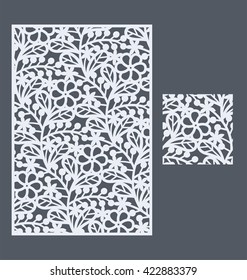 Laser cut vector panel and the seamless pattern for decorative panel. A picture suitable for printing, engraving, laser cutting paper, wood, metal, stencil manufacturing.