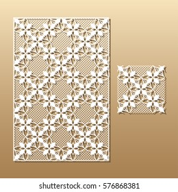 Laser cut vector panel and the seamless decorative pattern.Cutout silhouette with botanical pattern. A picture suitable for printing, engraving, laser cutting paper, wood, metal, stencil manufacturing