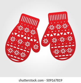 Laser cut vector paper mittens. Red decorations for die cutting. May be carved with scroll saw. Cutout x-mas ornate mitten. Holiday gift tags.