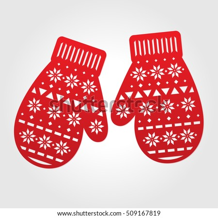laser cut vector paper mittens red decorations for die cutting may be carved with