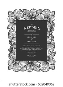 Laser cut vector wedding invitation with orchid flowers for decorative panel. Perfect for wedding or announcements, mothers day, valentines day, birthday cards. Floral pattern. Drawing of orchids.