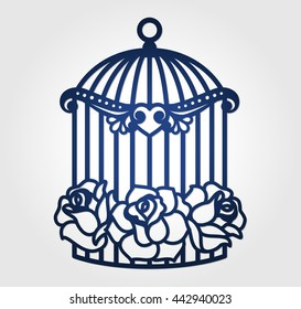 Laser cut wedding birdcage with cutout paper roses. Wall decor decal for cutting. Cage vector design. Love birds and flowers.