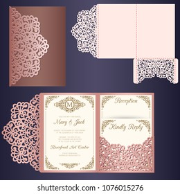Laser cut wedding invitation card template vector. Wedding invitation or greeting card with abstract ornament. Tri-fold envelope. Suitable for greeting cards, invitations, menus.