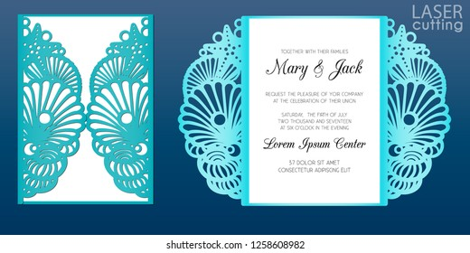 Laser cut wedding invitation card template in marine style, vector. Die cut paper card with pattern of seashells and stars. Cutout paper gate fold card for laser cutting or die cutting template.