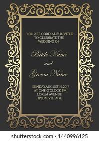 Laser cut wedding invitation card template. Ornamental frame border.