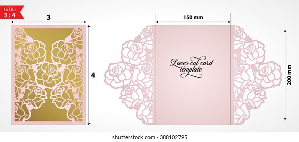 Laser cut wedding invitation card template vector. Die cut paper card with rose flowers. Cutout paper gate fold card for laser cutting or die cutting template.