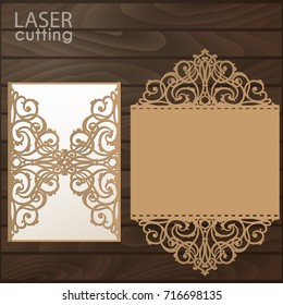 Laser cut wedding invitation card template vector. Die cut paper card with lace pattern. Cutout paper gate fold card for laser cutting or die cutting template.