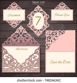 Laser cut wedding invitation card template collection, vector illustration. Wedding set mockup. Vintage art elements.