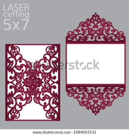 laser cut wedding invitation card 5 x 7 stock vector royalty free