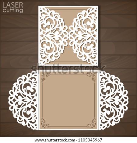 vetor stock de laser cut wedding invitation card template livre de