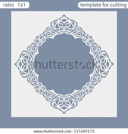 laser cut wedding invitation card template cut out the paper card with lace pattern