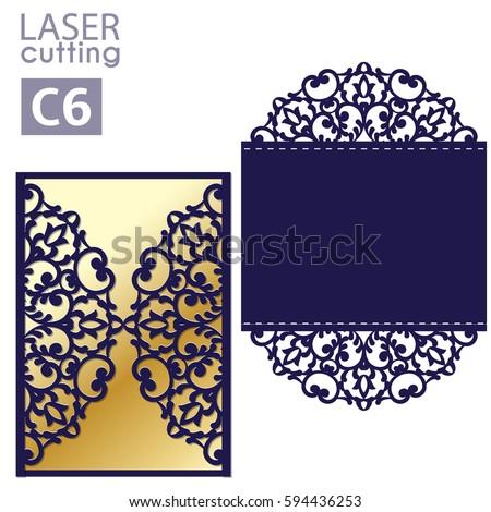 laser cut wedding invitation card template stock vector royalty