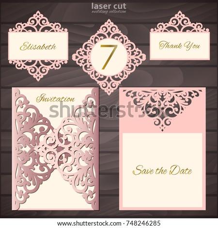 laser cut wedding invitation card template collection vector illustration wedding set mockup vintage