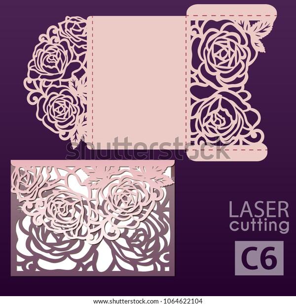 Laser Cut Wedding Invitation Card Template Stock Vector Royalty Free 1064622104