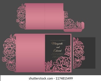 Laser cut Wedding invitation envelope with peonies. Floral tri fold invitation template.