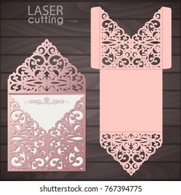 Laser cut wedding invitation envelope template vector. Wedding invitation or greeting card with abstract lace ornament. Die cut pocket envelope template.