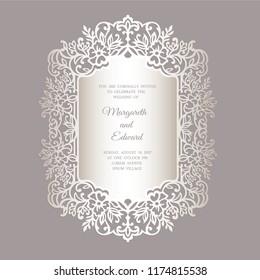 Laser cut wedding invitation with floral lace border. Ketubah vector design template. Ornamental fretwork frame.
