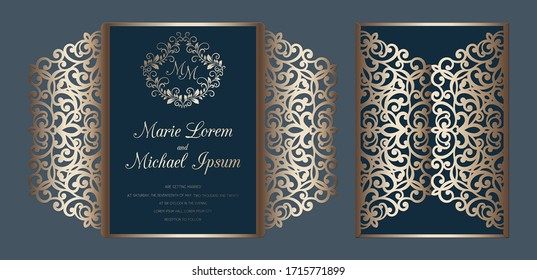 Laser cut wedding invitation gate fold card template vector. Paper cutting card with lace pattern.