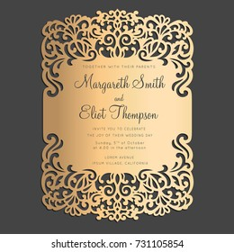Laser cut wedding invitation with lace border.