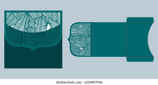 Laser cut wedding invitation pocket envelope template vector. Die cut paper card with tropical pattern of banana leaves. Greeting card or invitation cover template for cutting in tropical style.