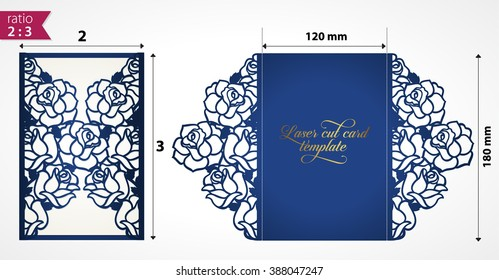 Laser cut wedding invitation template with roses. Vector floral die cut card mock up. Cutout paper card with rose flowers. Laser cut design. Vector laser cut flower template. Design for laser cut card