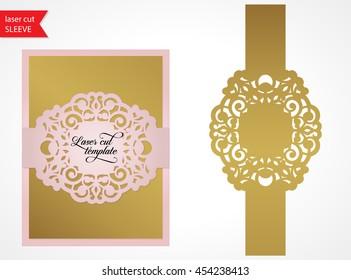 Laser cut wedding invitation template. Silhouette studio vector design. Lasercut wedding card sleeve vector.