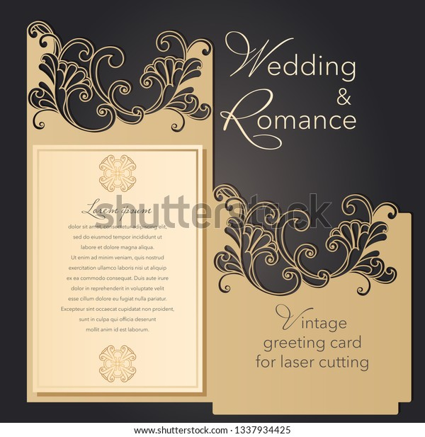 Laser Cut Wedding Invitation Template Lace Stock Vector Royalty