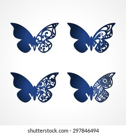 Laser cut wedding place cards, vector cutout butterfly for lasercutting. Laser cut vector place card. Lazercut mockup. Guest cards butterfly. Wine glass decoration tag. Butterfly Name Cards.