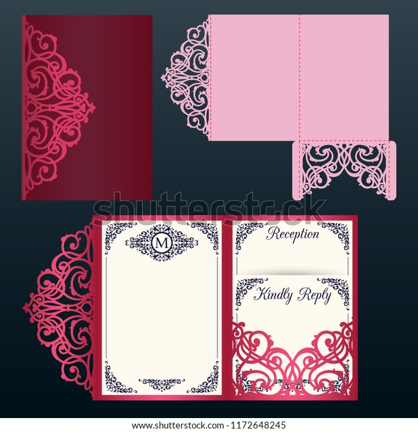 Laser Cut Wedding Trifold Envelope Template Stock Vector Royalty