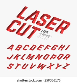 Laser cutted letters, alphabet. Vector.