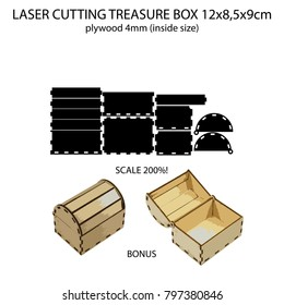 Laser cutting 4mm plywood treasure chest 12x8.5x9cm (inside size) + bonus vector chest (2)
