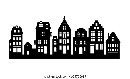 Laser cutting Amsterdam style houses. Silhouette of a row of typical dutch canal objects at Netherlands. Stylized facades of old buildings. Wood carving vector template. Background for banner, card.