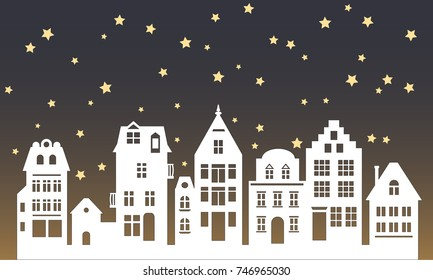 Laser cutting Amsterdam style houses. Silhouette of row of typical dutch canal objects at Netherlands. Stylized facades of old buildings. Flat vector template. Background. Xmas decoration for window.