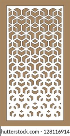 Laser cutting. Arabesque vector panel. Art gradient sheet. Template for interior partition in arabic style. Ratio 1:2