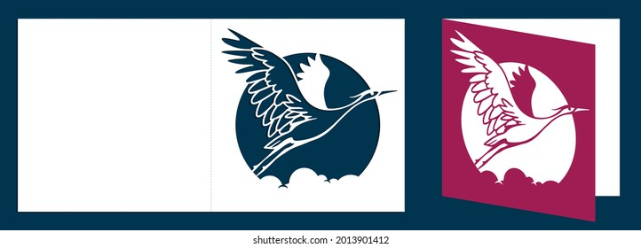 Laser cutting card template. Symbol of a crane bird or heron flying. Crane bird shape for craft and decoration. Vector.