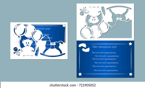 laser cutting, children's traces, bear cub, star, pacifier, toy, blue, white, paper, inflatable balls, horse