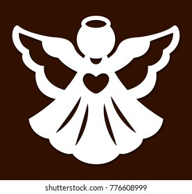 Laser cutting christmas angel decoration vector design. Merry Christmas Angels Greeting Card. Paper cut angel. X-mas angel for wood carving, paper cutting and christmas decorations.